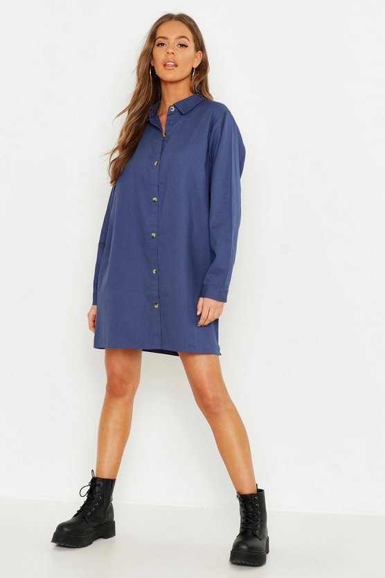 Womens Mid blue Oversized Denim Shirt Dress