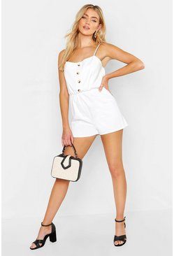 Womens Ecru Tie Back Denim Romper