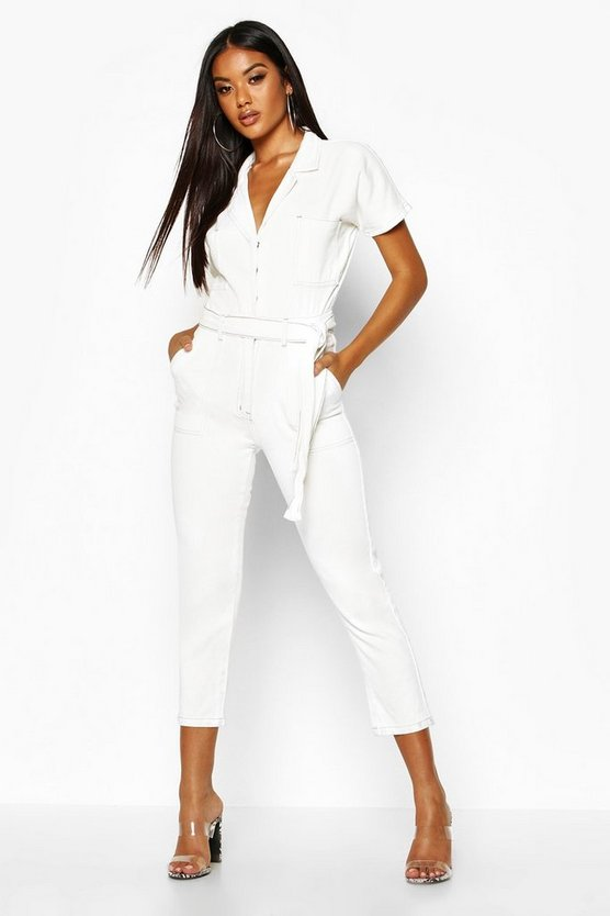 Womens White Tie Waist Contrast Stitch Boilersuit