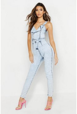 Womens Light blue Belted Zip Acid Wash Denim Boilersuit