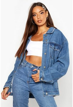 Womens Mid blue Oversized Trucker Denim Jacket