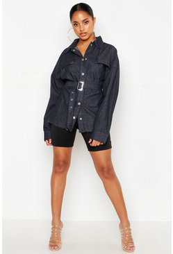 Womens Black Belted Denim Shirt