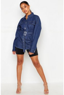 Womens Mid blue Belted Denim Shirt