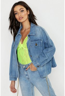 Womens Mid blue Draw Cord Waist Denim Jacket