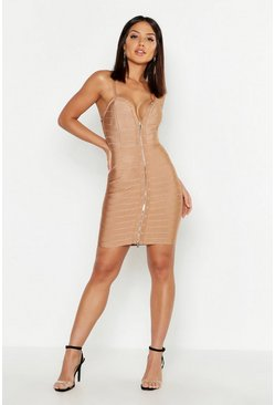 Womens Camel Studded Strappy Bandage Bodycon Mni Dress