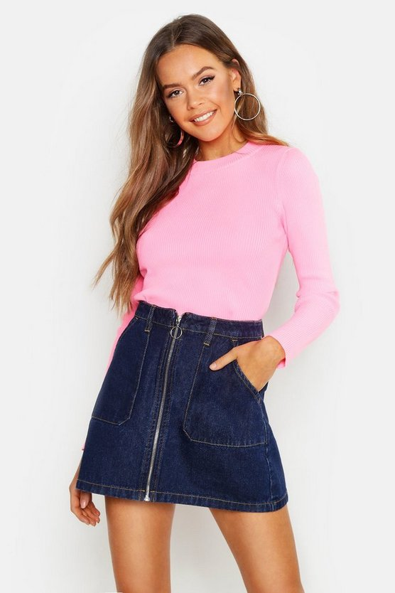 Zip Front Denim mini Skirt