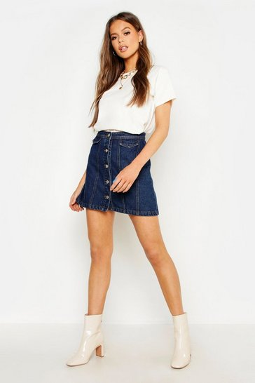 Womens Mid blue Button Front Denim Mini Skirt
