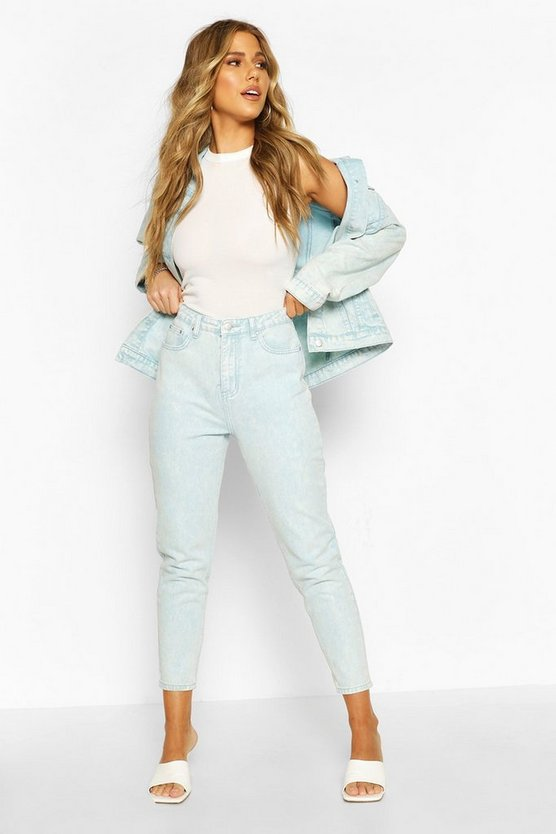 Womens Blue High Rise Acid Wash Mom Jeans