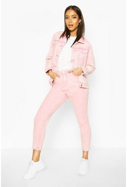 Pink High Rise Acid Wash Mom Jeans