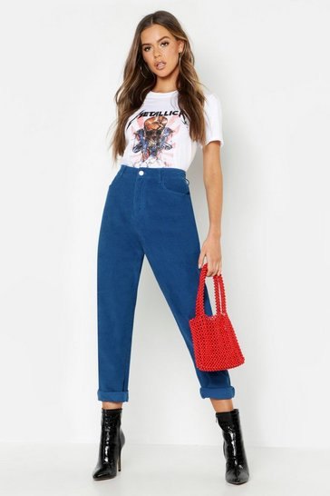 Womens Blue High Rise Cord Mom Jeans