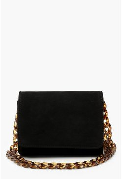 Womens Black Suedette Chunky Resin Chain Cross Body