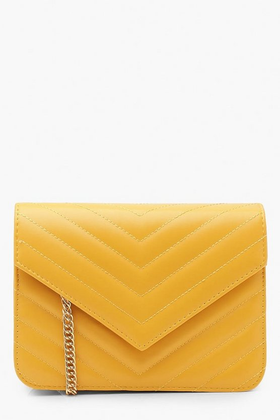 Structured Chevron Quilt Cross Body Bag