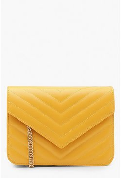 Womens Mustard Structured Chevron Quilt Cross Body Bag