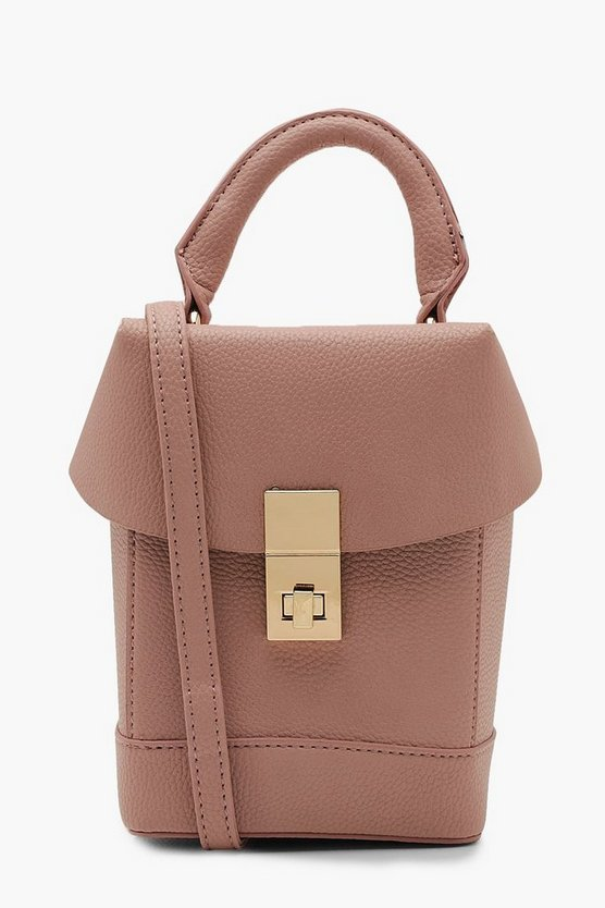 Womens Nude Structured Box Cross Body Bag