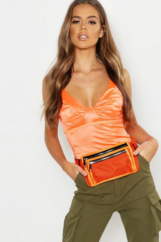 Orange Double Zip Neon Sports Bumbag