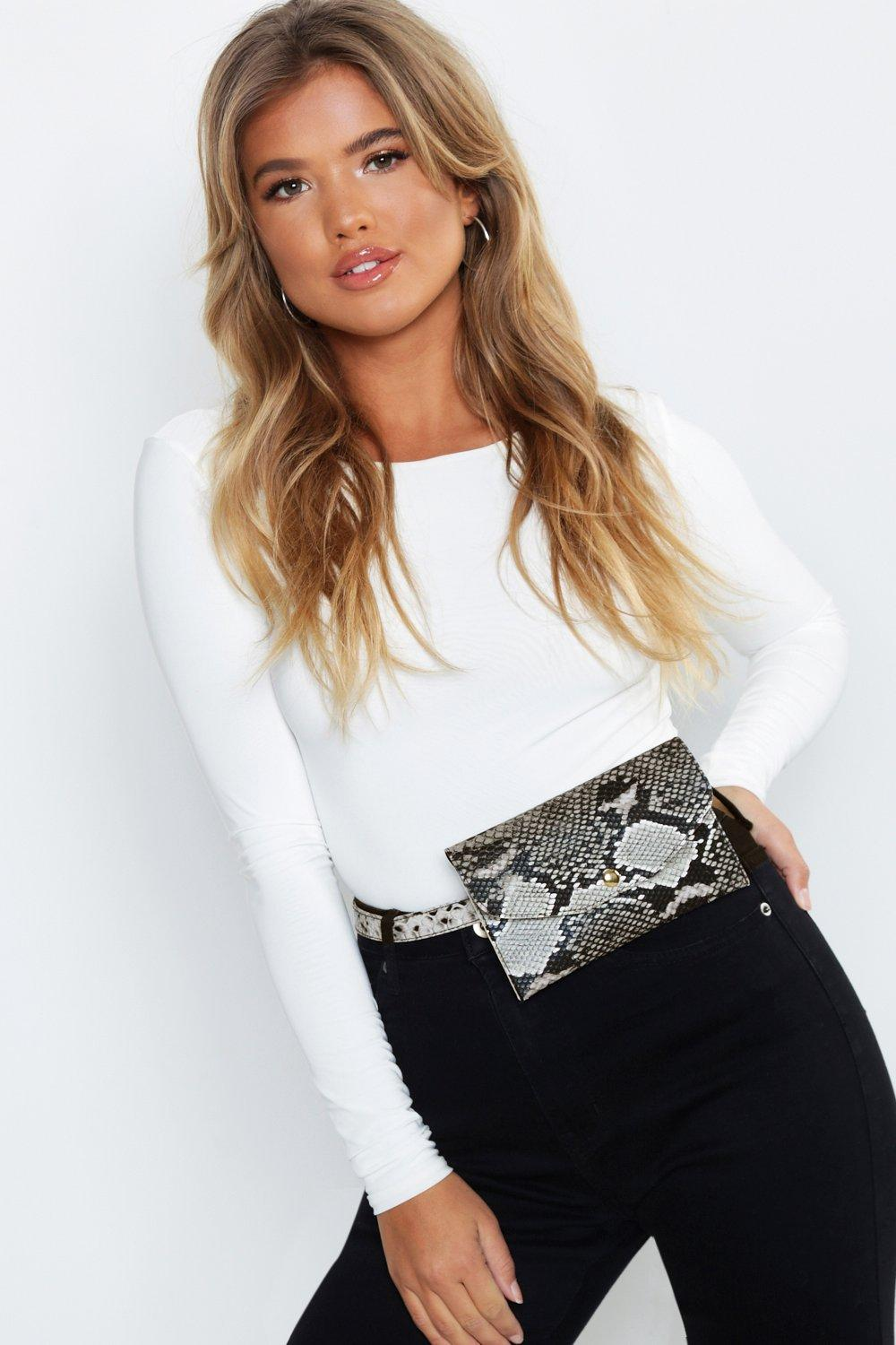 All Over Snake Flap Belt Bag