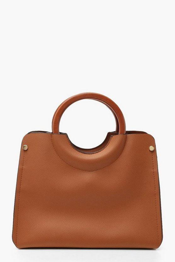 Womens Brown Wooden Handle Small Tote