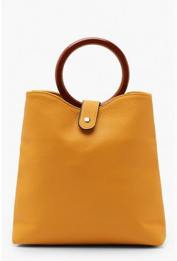 Womens Mustard Wooden Ring Grab Bag