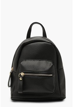 Womens Black Grainy Mini Rucksack