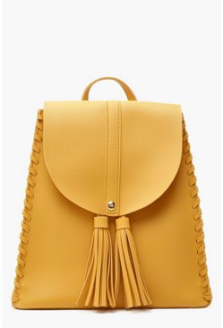 Womens Mustard Double Tassel Whipstitch Edge Rucksack