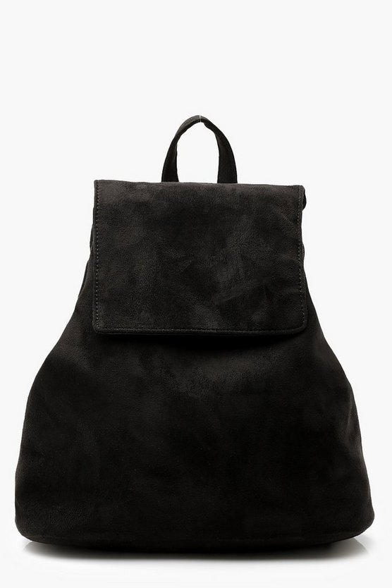 Womens Black Plain Suedette Drawstring Rucksack
