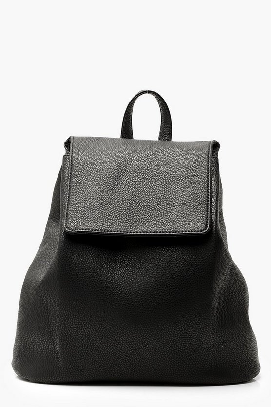 Womens Black Plain PU Drawstring Rucksack