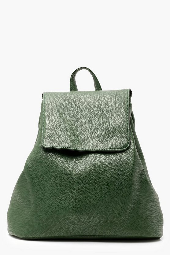 Womens Green Plain PU Drawstring Rucksack