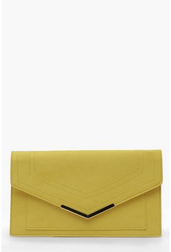Womens Lime Suedette & Bar Clutch Bag