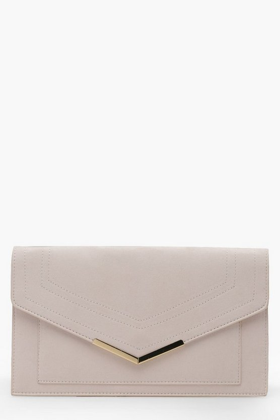 Suedette Painted Edge & Bar Clutch