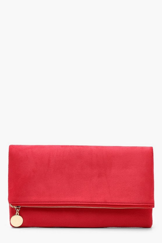 Womens Red Suedette Foldover Clutch