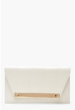 Womens White Large Bar Snake Clutch & Chain