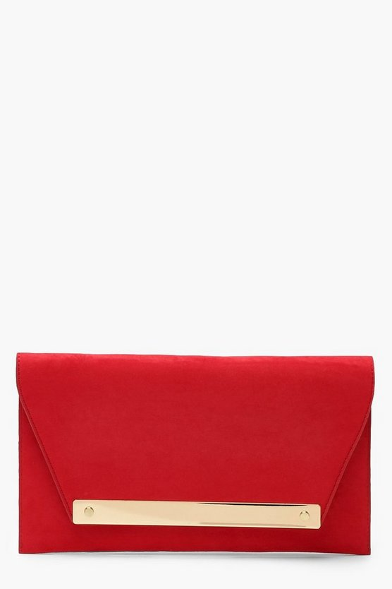 Large Bar Suedette Clutch & Chain