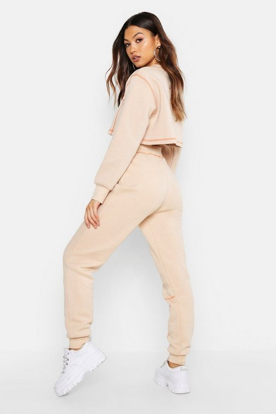 Contrast Stitch Cropped Sweat & Jogger Set