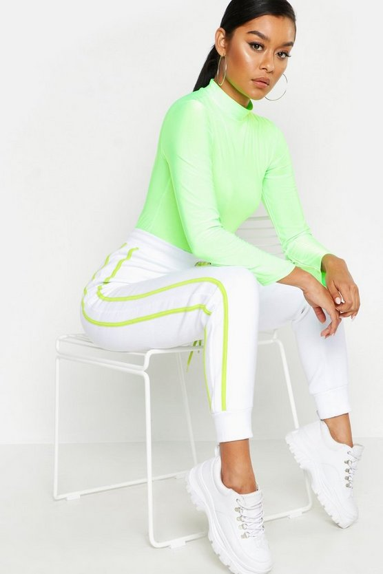 Womens White Two Stripe Jogger Neon