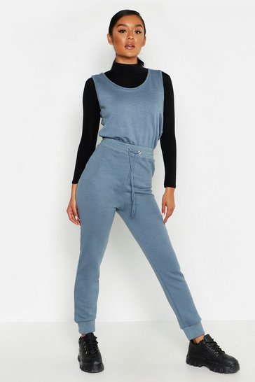 Womens Petrol Sleeveless Sweat Jumpsuit