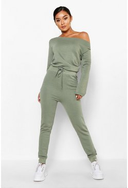 Womens Sage Bardot Sweat Jumpsuit