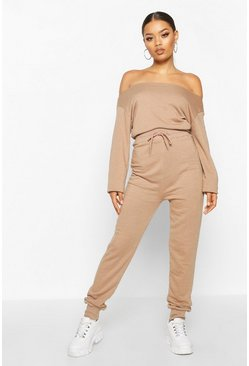 Womens Sand Bardot Sweat Jumpsuit