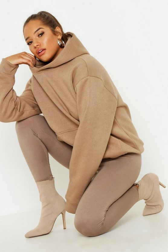 Womens Camel Extreme Oversized Premium Hooded Sweat