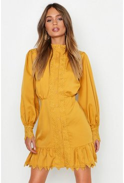Mustard Lace Panel High Neck Ruffle Hem Mini Dress