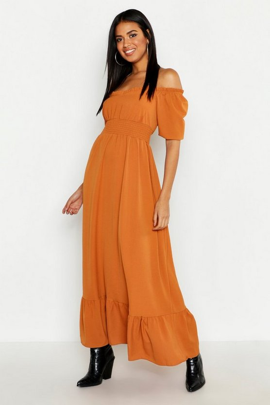 Womens Caramel Ruffle Detail Sweetheart Maxi Dress
