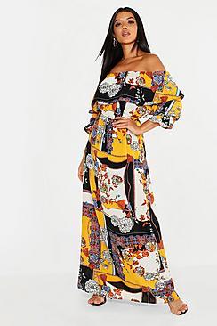 Ruffle Shoulder Scarf Print Maxi Dress