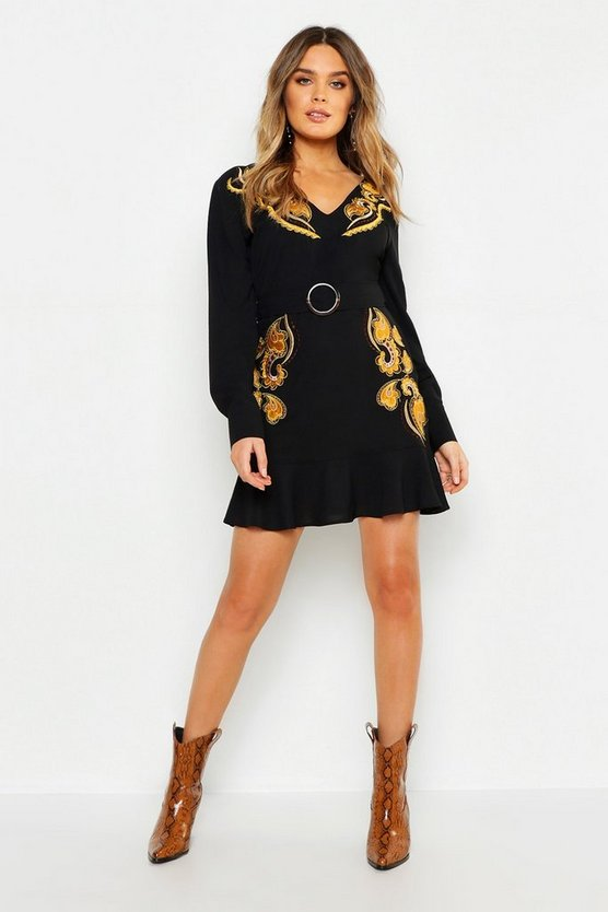 Womens Black Embroidered Belted Shift Dress