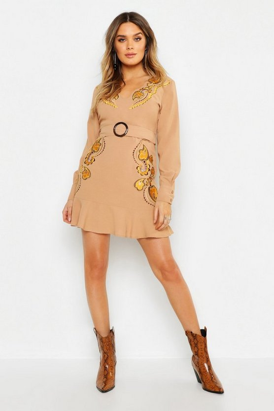 Sand Embroidered Belted Shift Dress
