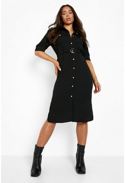 Womens Black Puff Sleeve Utility Midi Shirt Dress