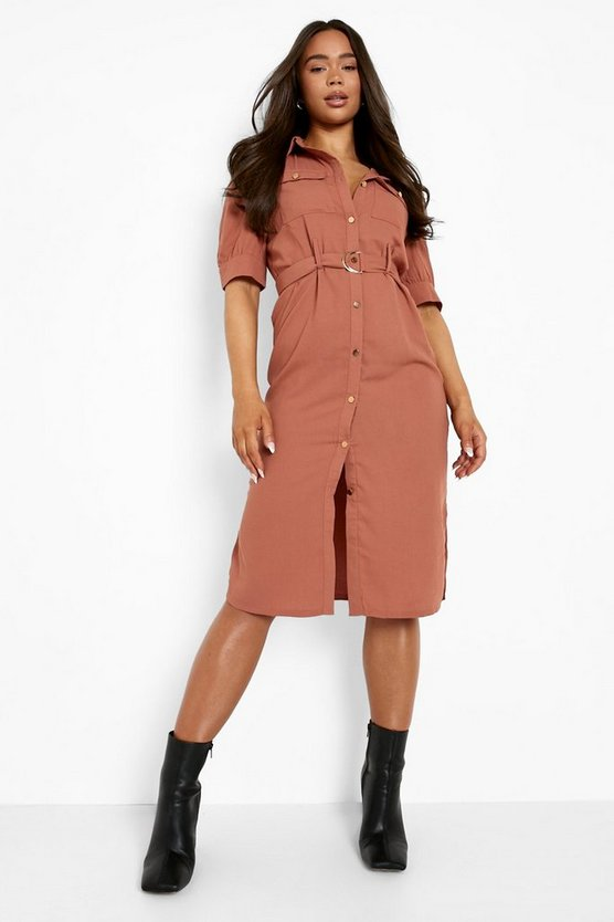 Womens Rose Puff Sleeve Utility Midi Shirt Dress
