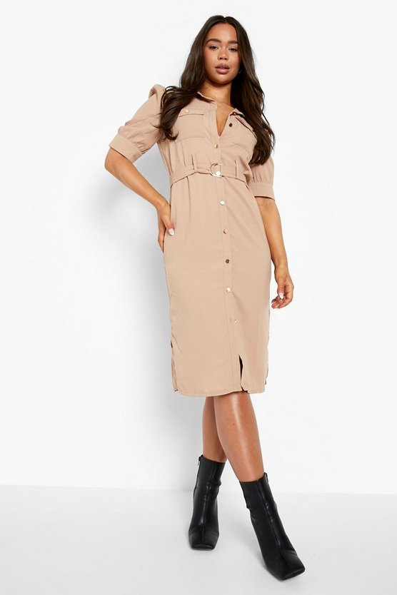 Womens Sand Puff Sleeve Utility Midi Shirt Dress
