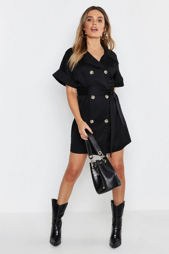 Womens Black Button Front Shirt Dress