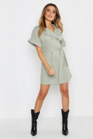 Womens Sage Oversized Button Front Shirt Dress