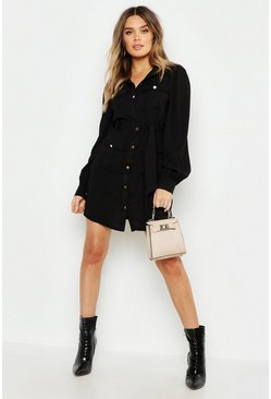 Womens Black Utility Pocket Detail Shirt Dress
