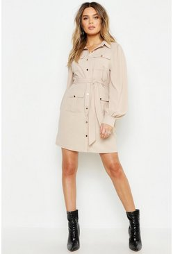 Womens Ecru Utility Pocket Detail Shirt Dress